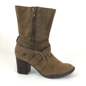 BORN Suede Leather Brown Buckled Boots